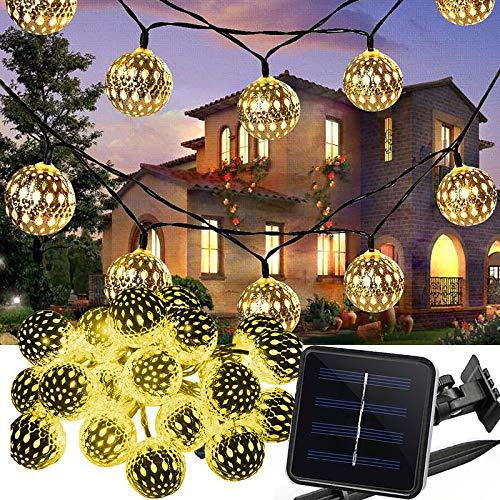 ALLOMN Lámpara Solar, Luces de Cuerda de Globo Solar Luces de Cuerda LED Luz de Hadas con Energía solar, 10 Bolas de luz Marroquí de LED, 8 Modos de Encendido/Apagado Automático