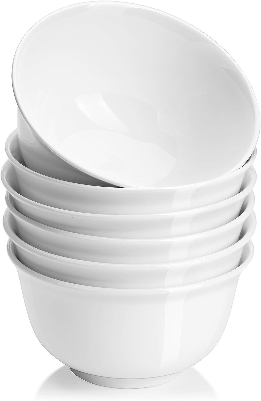 Dowan - Juego de 6 cuencos de porcelana para servir ensalada, rama y frutas, 550 ml, color blanco