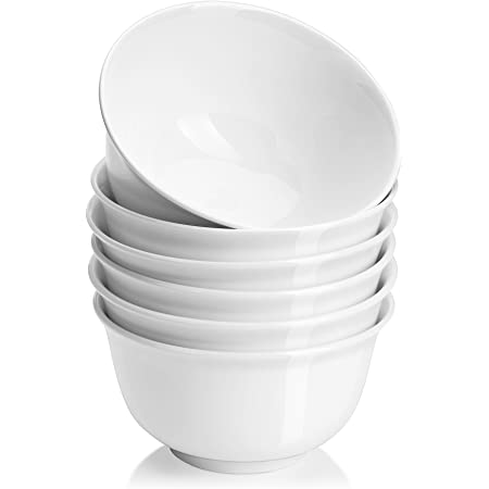 DOWAN Soup Bowls for Kitchen, White Deep Cereal Bowls, 18 Ounces Classic Round Style Ceramic Bowls Set For Cereal Soup Oatmeal Dessert, Dishwasher and Microwave Safe, Set of 6