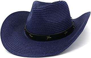 XinLin Du Women Western Cowboy Hat Fedora Hat Outdoor Seaside Beach Hat Sun Pentagram Metal Sun Hat