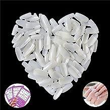 500PCS Natural False Nail Tips Long Full Cover Acrylic Fake Nails Artificial Nails 10 Sizes for Nail Salons,3PCS Flower Nail Art Stickers Decals Floral (LIFE18)