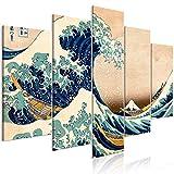 murando Cuadro Acústico la Gran Ola de Kanagawa 200x100 cm XXL Impresión 5 Piezas Artística Lienzo de Tejido no Tejido Decoración de Pared Aislamiento Absorción de Sonidos Hokusai p-B-0009-b-m