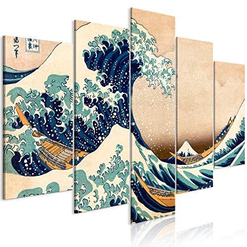murando Cuadro en Lienzo la Gran Ola de Kanagawa 225x112 cm Impresión de 5 Piezas Material Tejido no Tejido Impresión Artística Imagen Gráfica Decoracion de Pared - Katsushika Hokusai p-B-0009-b-m