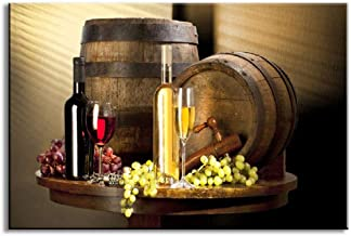 Bodeg/ón Botellas de vino Arte de la pared Pintura Vino tinto y champ/án con vidrio Barril de frutas Imagen para cocina 60x80cm Sin marco