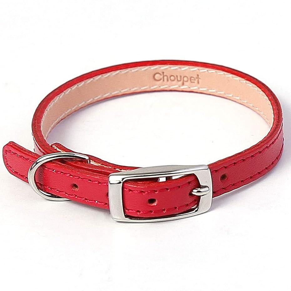 つかの間カラス狂ったChoupet 犬 首輪 カラー 小型犬 栃木レザー 本革 日本製 手作り Mサイズ レッド