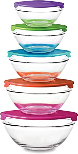 wholesale 10 Piece Glass Bowl Set with Plastic discount Lids (Microwave, Freezer and Dishwasher 2021 Safe) by PKP outlet sale