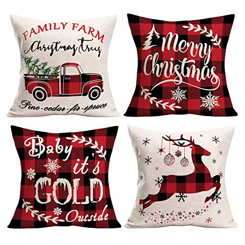 Aremetop Pack of 4 Christmas Decorations Pillow Covers Farmhouse Decor Xmas Buffalo Check Plaids Blessings Quote Cotton Linen Throw Pillow Case Cushion Cover 18x18 Inch, Red Black Grid Truck