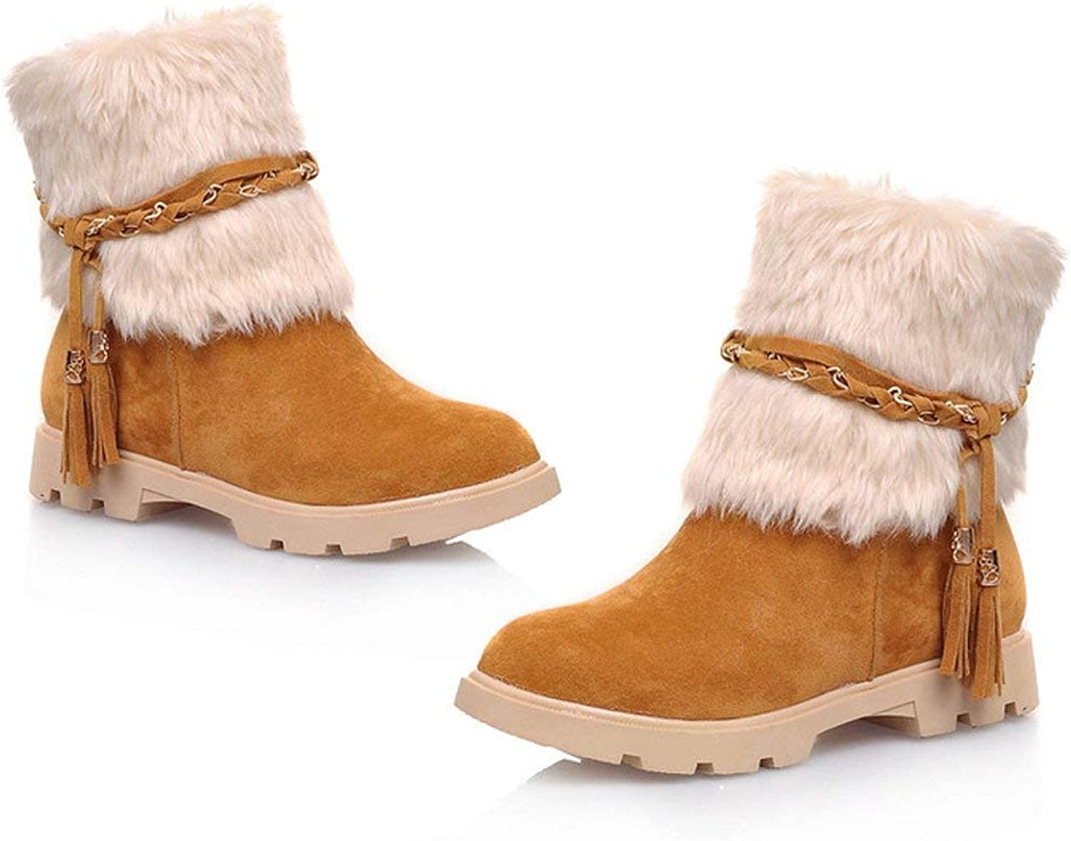 Women's Water Resistant Short Boot Fashion Suede Flat Heel Winter Faux Fur Snow Boots