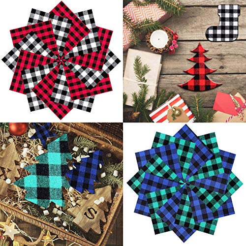 40 Pcs Christmas Buffalo Plaid Fabric Squares, 6 x 6 Inch Quilting Fabric Precut Quarter Patchwork for Christmas Sewing DIY Craft