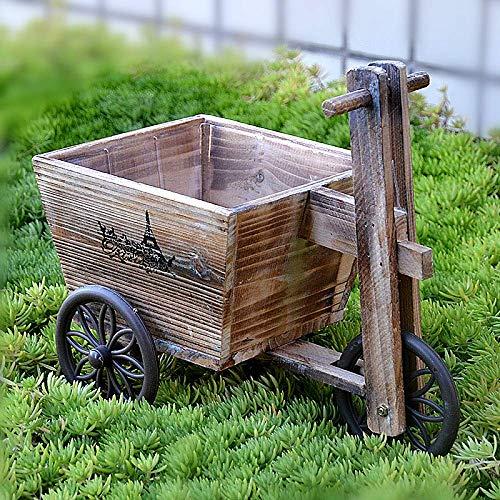 LIUSHI Dreirad Sukkulente Pflanzer Fahrrad Fahrrad Holz Outdoor Garten Terrasse Japanischer Stil Blumenkorb Topf, Trapez