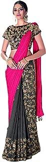 Black Pink Indian D Silk Georgette Eid Designer Sari Zari & Pearl Pre Stitched Blouse 1 Minute Saree 6331