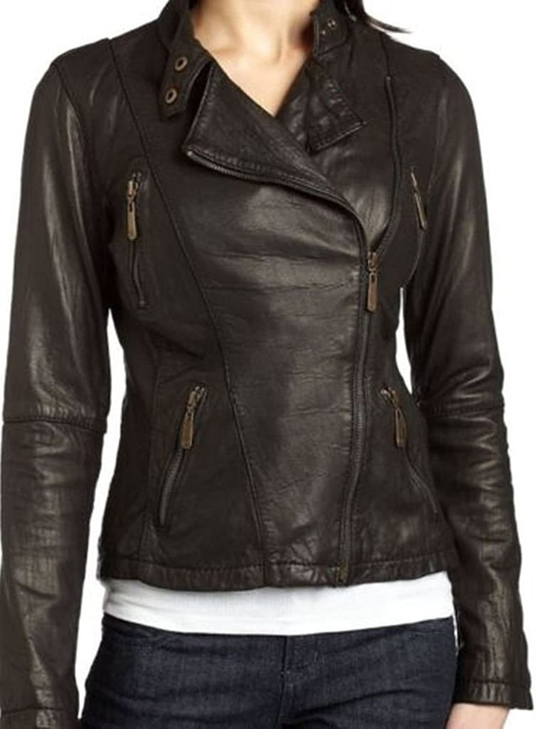 New Womens Genuine Sheep Leather Slim Fit Biker Jacket LFW335