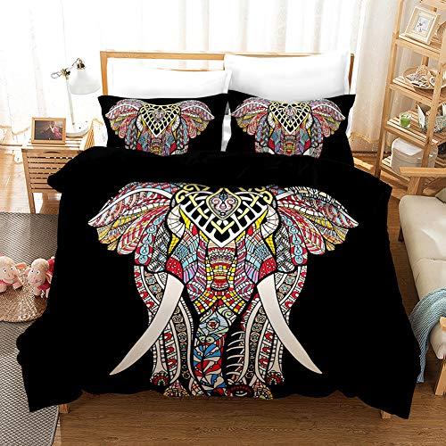 QXbecky Bettwäsche 3D Elefant Print Ethnic Style 3 Stück Hautfreundlich Atmungsaktiv Weich und Geschmeidig Double KING 260x230cm