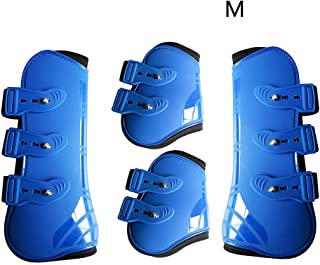 Horse Leg Boots PU Leather Equestrian Riding Front nd Outdoor Practical Brace Durable Training Adjustable Guard Farm Protection Wrap(MBlue)