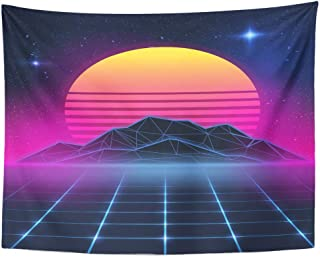 Semtomn Tapestry Wall Hanging Neon on New Retro Wave Party Miami 90S Beach 60