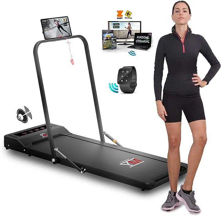 Tapis roulant elettrico & walking pad (2 in 1) con barra di supporto e porta tablet ym ym_wpad_hand