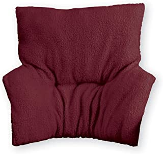 Faux Sheepskin Deluxe Back Rest Support Cushion - Lower Back Support and Comfort for Chair or Bed, Burgundy, 32