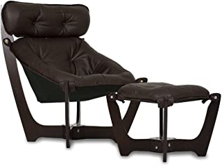 IMG Luna High Back Black Leather Chair and Ottoman - Prime P301 Black Leather Espresso Wood