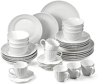 suntun Service de Table Complets 6 Personnes, Moderne Relief Blanche Vaisselles 36 pièces, Porcelaine Assiettes Creuses, A...