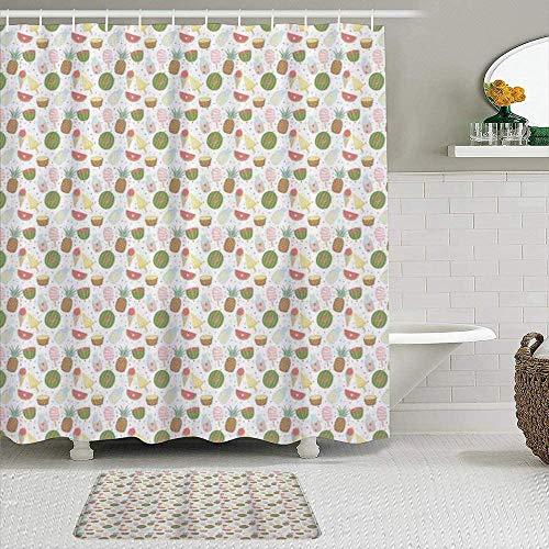 EricauBird Cortina de ducha de verano sin costuras con diseño de helado, frutas, lunares, fresas, corazones, cortinas de baño, decoración de baño, 72 x 72 cm