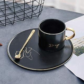 マグノルディックゴールドブラックコーヒーカップセラミックカップソーサースリーピースオフィストレイセラミックカップホースパーフェクト