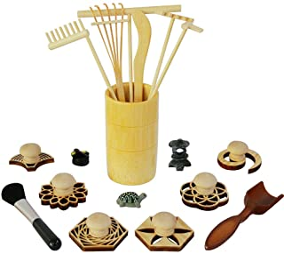 Zen Garden Rake Stamp Tools - Meditation Rock Sand Garden Accessories – Office Desktop Mini Zen Gifts for Man Women Bamboo...