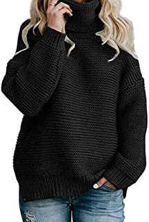 INIBUD Oversized Sweaters for Women Turtleneck Long Sleeve Solid Chunky Loose Knit Pullover Winter