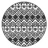 Alfombras de área con patrón tribal 3D, 3 pies redondos, decoración azteca geométrica con respaldo antideslizante para dormitorio, sala de estar, habitación infantil, decoración interior del hogar