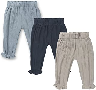 Mary ye Baby Boys Girls 3 Pack Cotton Linen Trousers Kids Casual Ankle Pants