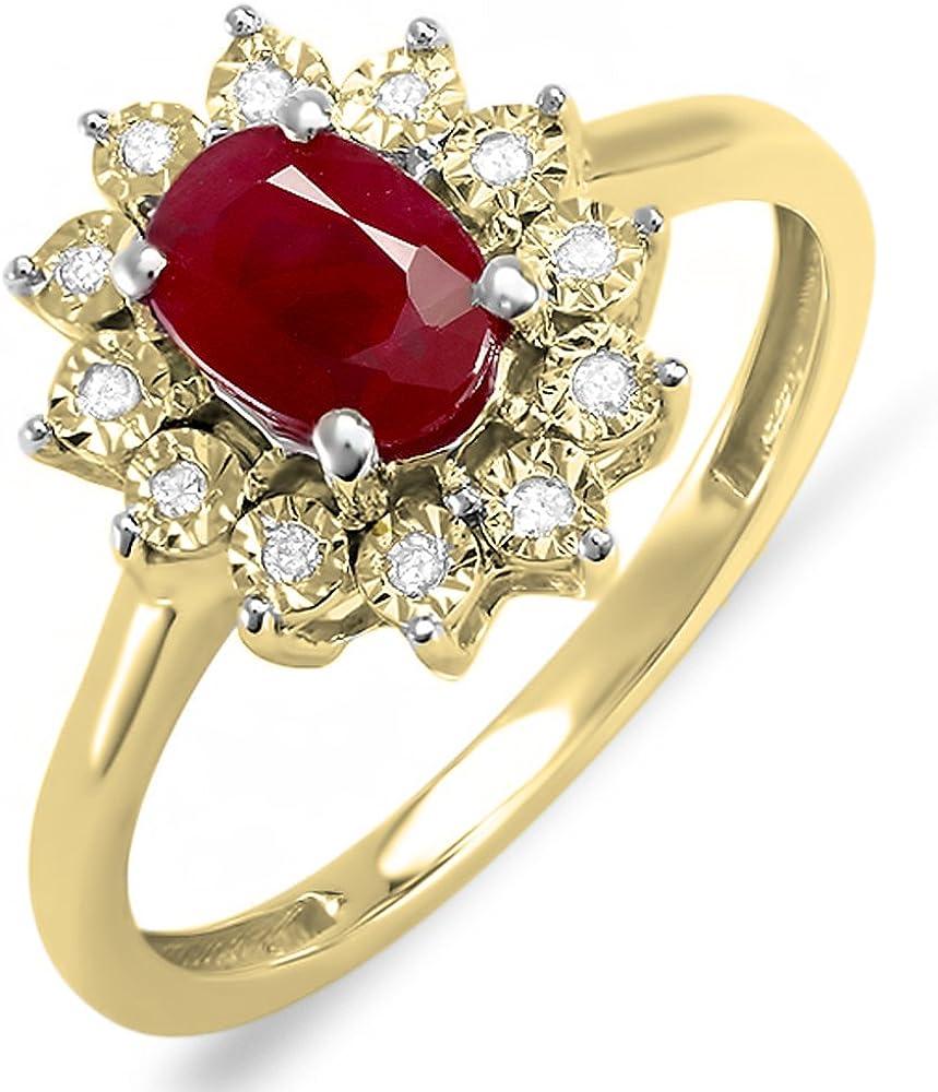 Dazzlingrock Collection Kate Middleton Diana Inspired 10K Gold Diamond & Ruby Engagement Ring 1 1/4 CT