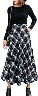 [アルジェント アパ] スカート 秋 冬 ミモレ丈 ゆったり チェック 柄 暖かい カジュアル M〜XL