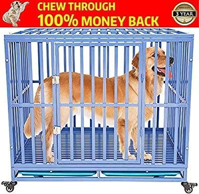 petgroomingtable Heavy Duty Dog Cage Crate Kennel Playpen Metal Strong for Medium and Large Dogs with Lockable Wheels, 42''/ Blue