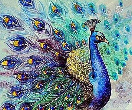 5D Diamond Painting Kits DIY Rhinestone Embroidery Cross Stitch Arts Craft for Home Wall Decor Peacock 12x16inch