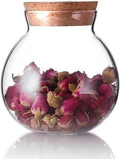 TOPWEL 500 Ml (17 Fl Oz) Round Clear Glass Favor Jar Storage Jar, with Cork Stopper