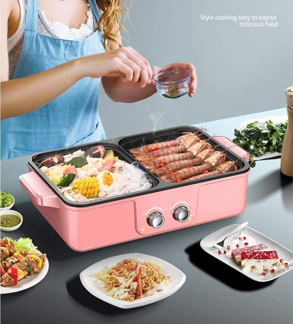 Poêle à frire multifonction domestique Gril à double usage hot pot Ragoût électrique hot pot électrique plaque de cuisson Poêle à frire Poêle à griller Poêle grillée Vert