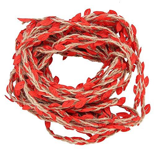 10 Meters Artificial Leaf Ribbon Braided Garland Weaving Hemp Rope for Bouquet DIY Crafts Accessories Wedding Garden Decor(Red)