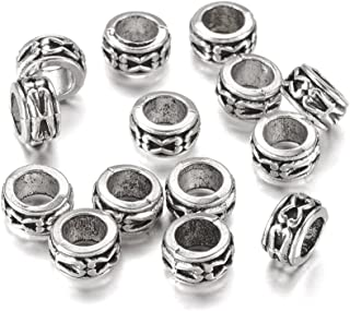 Kissitty 100-Piece Tibetan Antique Silver European Large Hole Rondelle Spacer Beads 7mm Lead Free and Cadmium Free with 3.5mm Hole for DIY Jewelry Craft Making