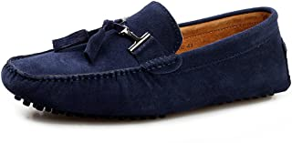 Men's Casual Suede Leather Tassel Slip-On Loafers Outdoor Low Boat Shoes Driving Car Moccasins