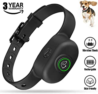 KeShi Bark Collars - Anti Barking Collar Premium Silicone Neck Strap, 5 Levels' Vibration & Static Electric Shock, Rechargeable No Bark Collar for Small (≥10 lb), Medium and Large Dogs Waterproof