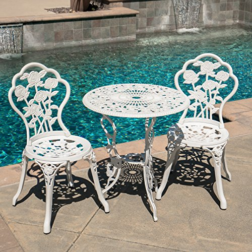 BELLEZE Bistro Outdoor 3 Piece Patio Set Rose Design Weather Resistant Round Table 2 Chairs White Cast Garden Furniture