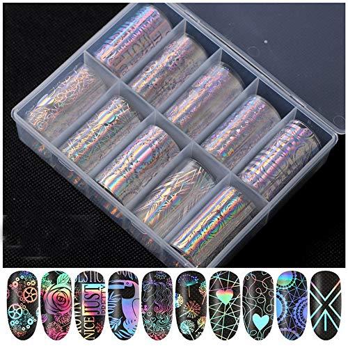 10Pcs Set La mode féminine Vernis à ongles Décoration DIY 3D Manucure Hologramme Motif géométrique Feuille de transfert des ongles Autocollant(WY183)