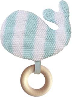 Manhattan Toy Whale Knit Baby Rattle with Wooden Teether