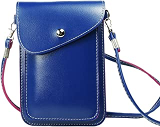 PU Leather Two Phone Carrying Case Cellphone Pouch Shoulder Bag Mini Phone Purse Wallet for Travel Shopping Blue