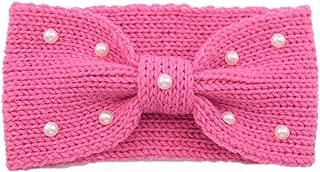 Snowlike Women's Hair Band Earmuffs Vintage Pearl Knit Hair Band Warm Wool Hair Ring Hand-Woven Headband