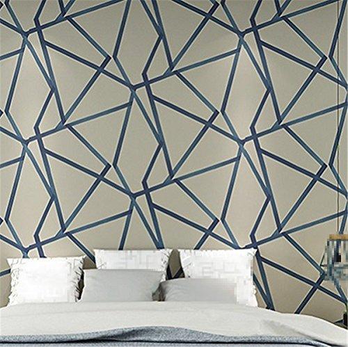 Metálico azul moderno papel pintado geométrico para dormitorio decoración abstracta pared Roll triángulo forma amarillo marfil beige, azul caqui