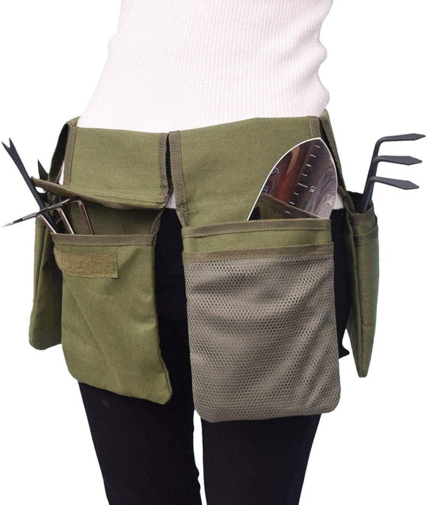 Gardening Tools Organizer Garden Waist Bag Hanging Pouch-4 Pokets, Garden Tools Storage Bag with Pockets, Adjustable Belt for Holding Tools