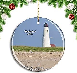 Weekino USA America Nantucket Great Point Lighthouse Christmas Xmas Tree Ornament Decoration Hanging Pendant Decor City Tr...