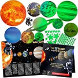 Glow in The Dark Stars and Planets for Ceiling - Bright Solar System Wall Stickers for Kids + Educational Solar System Poster, Planets for Kids Space Decoration, Birthday Gift for Boys and Girls