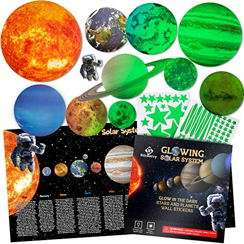 Glow in The Dark Stars and Planets Room Decor, Stars for Ceiling for Kids Room, Glow in The Dark Stickers and Solar System Poster, Planets and Star Stickers Wall Decals, Space Decoration by Stickerry