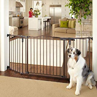 """North States MyPet 72"""" Extra-Wide Windsor Arch Gate: Provides safety in extra-wide spaces. Hardware Mount. Fits 38.3""""-72"""" wide (30"""" tall, Matte Bronze)"""